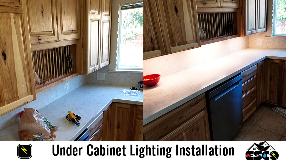 Under Cabinet Lighting Installation Before and After