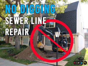 Tractor digging up yard to repair sewer line with no sign on top